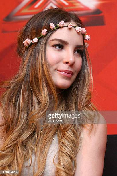 Singer Belinda attends MundoFOX El Factor X premiere and press conference at Sofitel Hotel on June 12 2013 in Los Angeles California