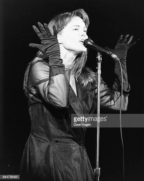 Singer Belinda Carlisle performing on stage at the Hammersmith Odeon London September 16th 1988