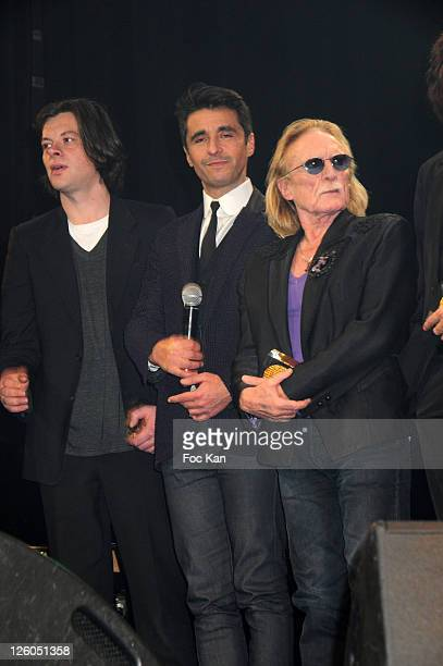 Singer Benjamin Biolay TV presenter/DJ Ariel Wizzmann and singer Christophe attend the Sacem 2010 Music Awards at the Theatre Marigny on November 29...