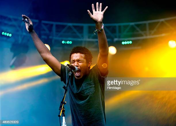 Singer Benjamin Booker performs at the Twin Peaks Stage during day 3 of the 2015 Outside Lands Music And Arts Festival at Golden Gate Park on August...