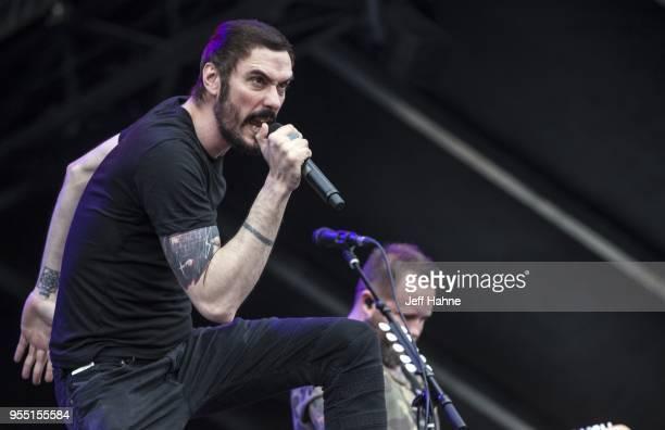 Singer Benjamin Burnley of Breaking Benjamin performs at Charlotte Motor Speedway on May 5 2018 in Charlotte North Carolina