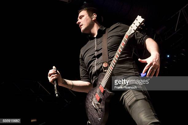Singer Benjamin Burnley of the American band Breaking Benjamin performs live during a concert at the Huxleys on May 30 2016 in Berlin Germany