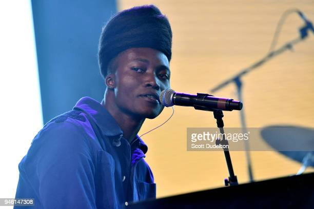 Singer Benjamin Clementine performs on the Gobi stage during week 1 day 1 of the Coachella Valley Music And Arts Festival on April 13 2018 in Indio...