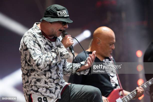 Singer Bernie Bonvoisin and guitarist Izo Diop of French band Trust performs at the Festival of Humanity a political event and music festival...
