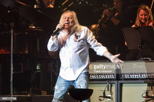 Singer Bernie Shaw of the British band Uriah Heep performs live during the concert Rock meets Classic at the Tempodrom on April 8 2017 in Berlin...