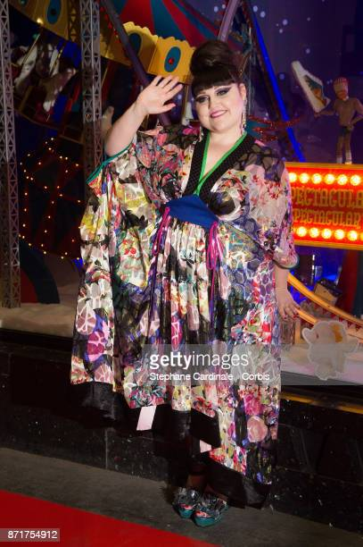 Singer Beth Ditto attends the 'Galeries Lafayette' Christmas Decorations Inauguration at Galeries Lafayette Haussmann on November 8 2017 in Paris...