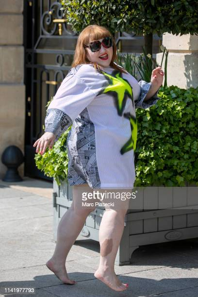 Singer Beth Ditto is seen arriving at the Ritz hotel on April 11, 2019 in Paris, France.