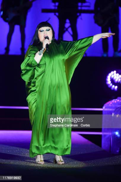 Singer Beth Ditto performs during the Etam Winter 2019/Summer 2020 show as part of Paris Fashion Week At Roland Garros on September 24, 2019 in...