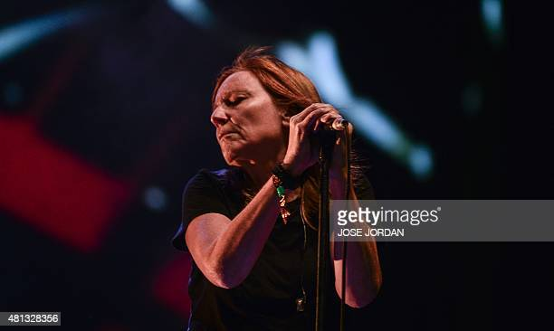 UK singer Beth Gibbons of British band Portishead performs during the last day of the Benicassim International Festival in Benicassim on July 19 2015...
