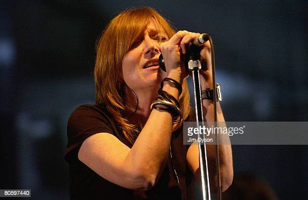 Singer Beth Gibbons, of British group Portishead, performs at the Hammersmith Apollo on April 10, 2008 in London.