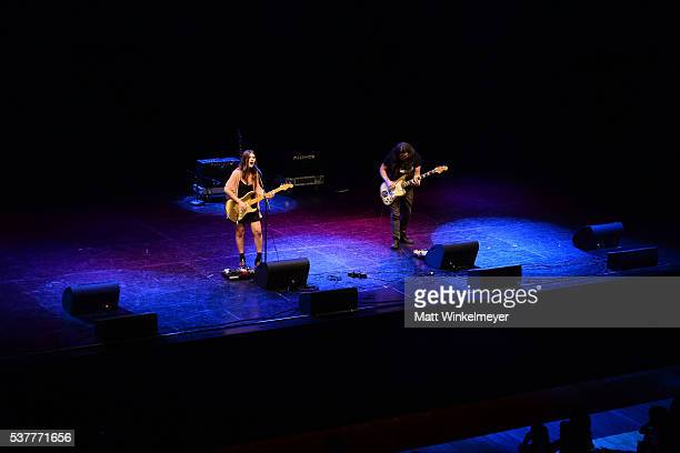 Singer Bethany Cosentino and guitarist Bobb Bruno of the band Best Coast perform onstage during 826LA's Tell Me A Story at The Wiltern on June 2 2016...