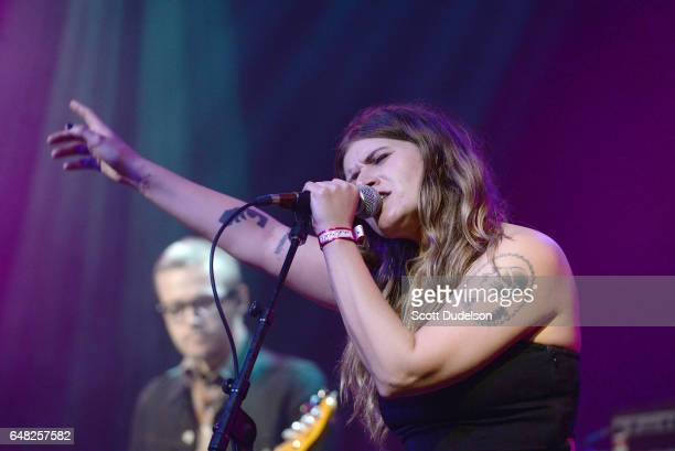 Singer Bethany Cosentino of Best Coast performs onstage during the Don't Site Down Planned Parenthood Benefit Concert at El Rey Theatre on March 4...