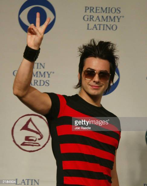 Singer Beto Cuevas, of the Chilean rock group La Ley, arrives at the 4th Annual Latin Grammy Award nomination announcements July 22, 2003 at the...