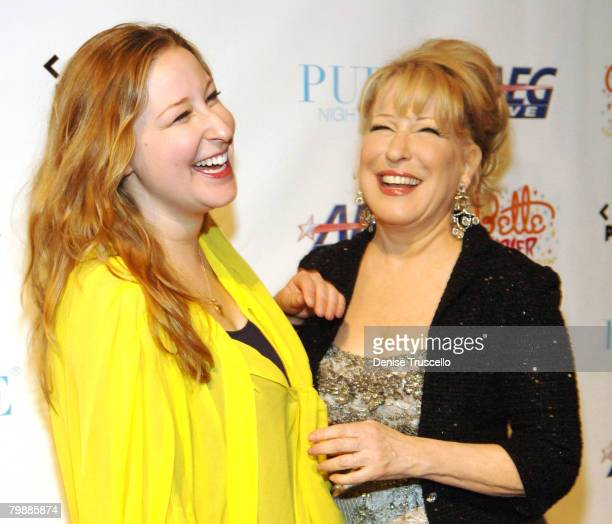 Singer Bette Midler and daughter Sophie Haselberg arrive at the grand opening of Bette Midler's The Showgirl Must Go On at Caesars Palace on February...