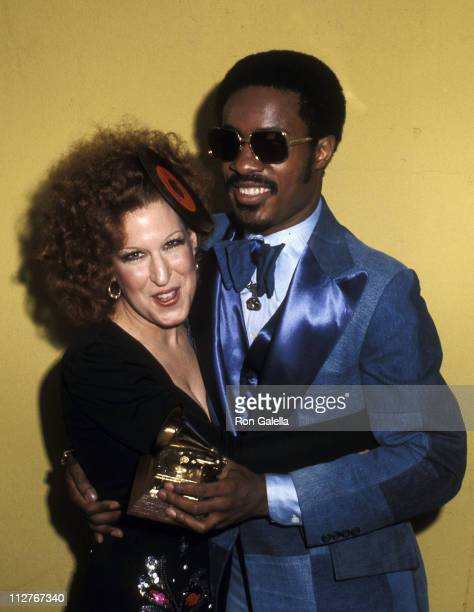Singer Bette Midler and singer Stevie Wonder attend the 16th Annual Grammy Awards on March 2 1974 at the Hollywood Palladium in Hollywood California