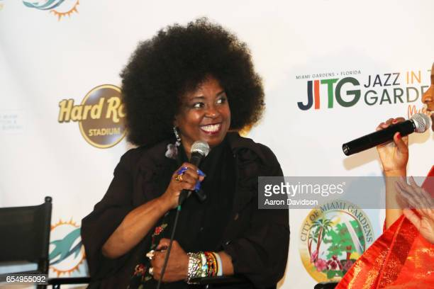 Singer Betty Wright is interviewed backstage at The 12th Annual Jazz In The Gardens Music Festival Day 1 at Hard Rock Stadium on March 18 2017 in...