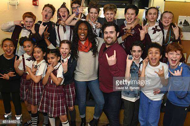 Singer Beverley Knight poses backstage with cast members of the West End production of 'School Of Rock The Musical' at The New London Theatre Drury...