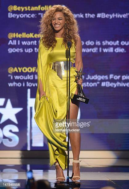 Singer Beyonce accepts the award for Best Female RB Artist onstage during the 2012 BET Awards at The Shrine Auditorium on July 1 2012 in Los Angeles...