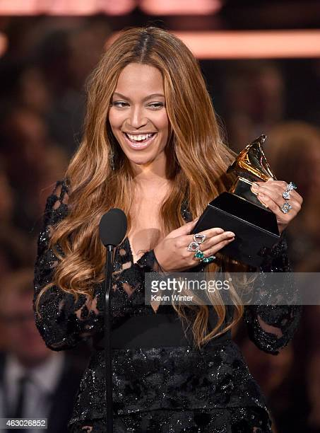 Singer Beyonce accepts the Best RB Performance award for 'Drunk in Love' onstage during The 57th Annual GRAMMY Awards at the STAPLES Center on...