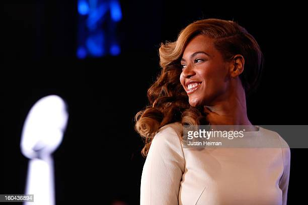 Singer Beyonce addresses the media during the Pepsi Super Bowl XLVII Halftime Show press conference at the media center on January 31 2013 in New...