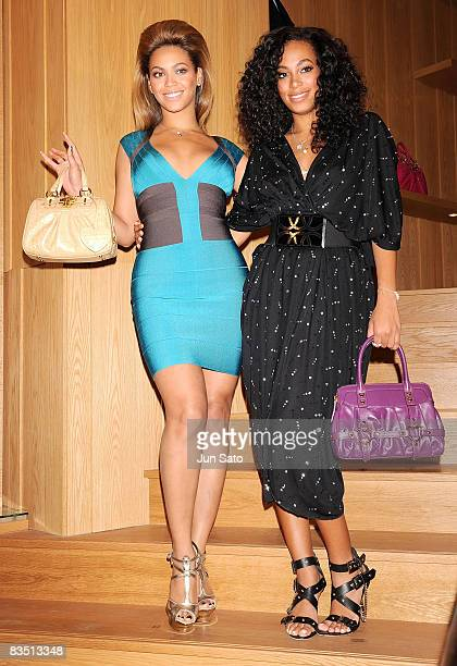 Singer Beyonce and her sister Solange Knowles attend the EiGHT MiLLiON Ginza Gates Store Opening on October 31 2008 in Tokyo Japan Beyonce is in...
