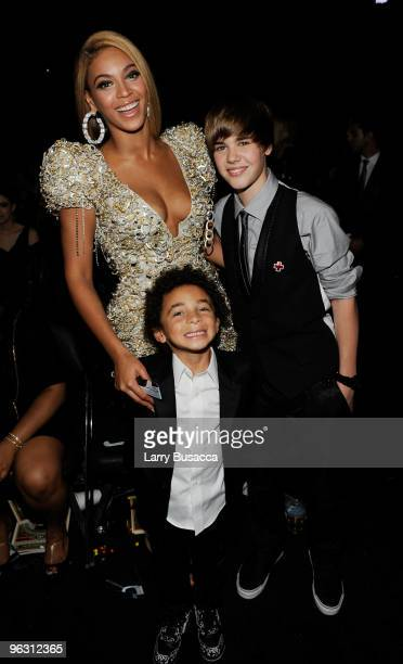 Singer Beyonce and Justin Bieber in the audience during the 52nd Annual GRAMMY Awards held at Staples Center on January 31, 2010 in Los Angeles,...