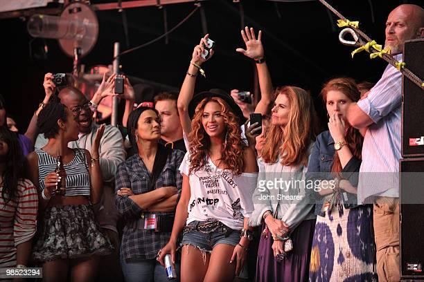 Singer Beyonce and Maria Shriver during Day 1 of the Coachella Valley Music Art Festival 2010 held at the Empire Polo Club on April 16 2010 in Indio...
