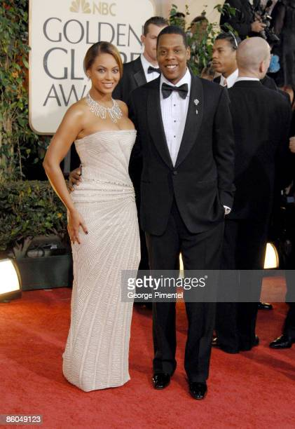 Singer Beyonce and rapper Jay Z arrive at the 66th Annual Golden Globe Awards held at the Beverly Hilton Hotel on January 11 2009 in Beverly Hills...