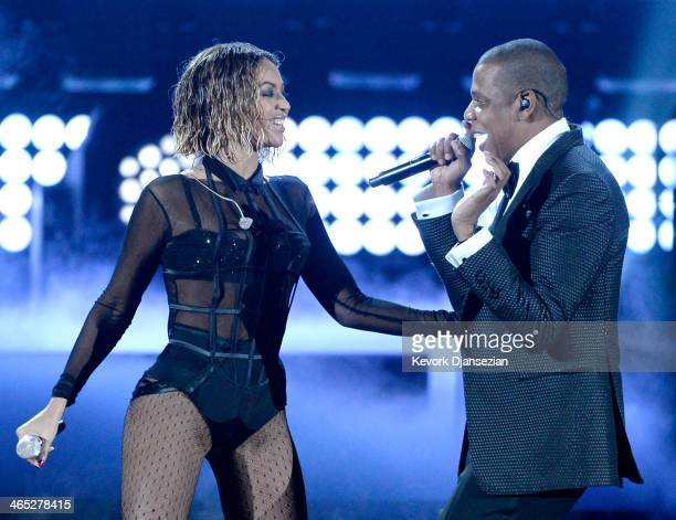 Singer Beyonce and rapper Jay Z perform onstage during the 56th GRAMMY Awards at Staples Center on January 26 2014 in Los Angeles California
