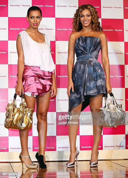Singer Beyonce and Solange Knowles promote Samantha Thavasa Disney Collection at Tokyo Disneyland Hotel on August 10 2009 in Urayasu Chiba Japan