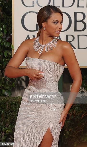 Singer Beyonce arrives at the 66th Annual Golden Globe Awards held at the Beverly Hilton Hotel on January 11 2009 in Beverly Hills California AFP...