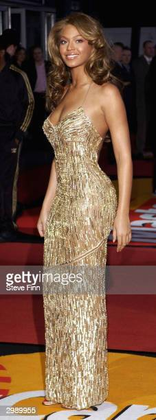 Singer Beyonce arrives at the 'Brit Awards 2004' at Earls Court 2 on February 17 2004 in London Beyonce has been nominated in two categories Best...
