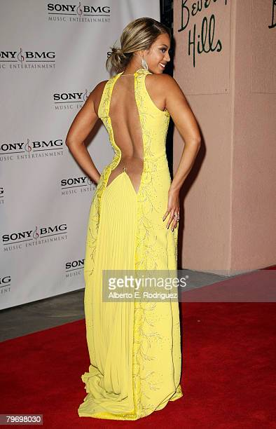 Singer Beyonce arrives at the Sony BMG Music 2008 Grammy Awards After Party held at the Beverly Hilton Hotel on February 10 2008 in Beverly Hills...
