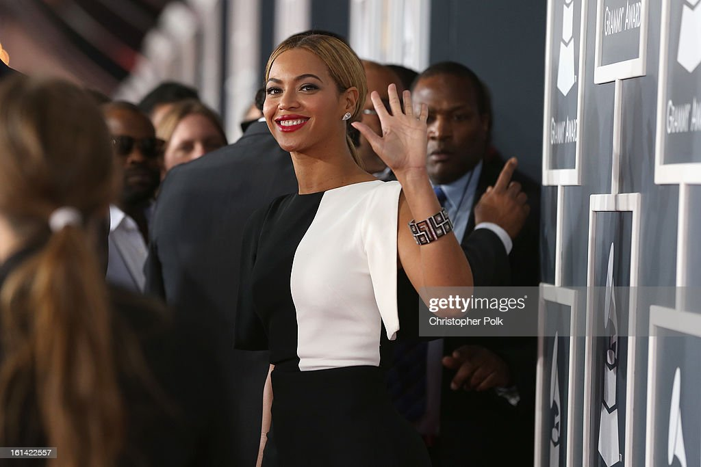 Singer Beyonce attends the 55th Annual GRAMMY Awards at STAPLES Center on February 10, 2013 in Los Angeles, California.