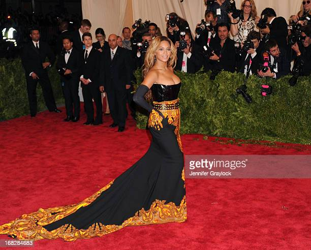 Singer Beyonce attends the Costume Institute Gala for the PUNK Chaos to Couture exhibition at the Metropolitan Museum of Art on May 6 2013 in New...