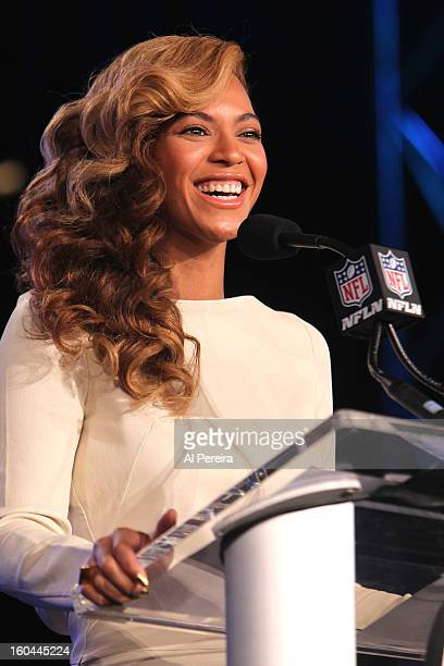 Singer Beyonce attends the Pepsi Super Bowl XLVII Halftime Show Press Conference at the Ernest N Morial Convention Center on January 31 2013 in New...