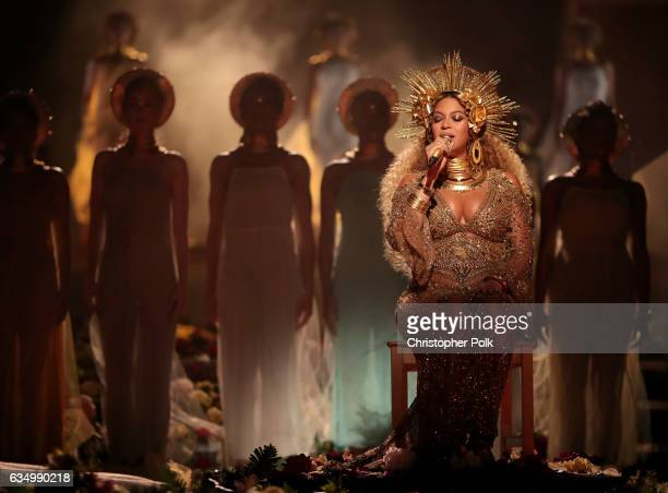Singer Beyonce during The 59th GRAMMY Awards at STAPLES Center on February 12 2017 in Los Angeles California