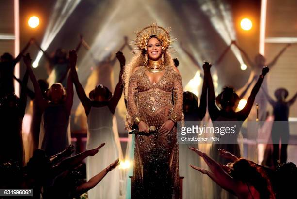 Singer Beyonce during The 59th GRAMMY Awards at STAPLES Center on February 12, 2017 in Los Angeles, California.