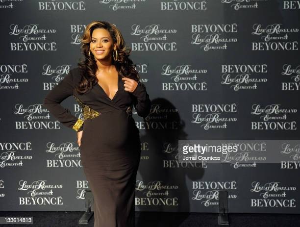 Singer Beyonce hosts the screening of Live at Roseland The Elements of 4 at the Paris Theatre on November 20 2011 in New York City