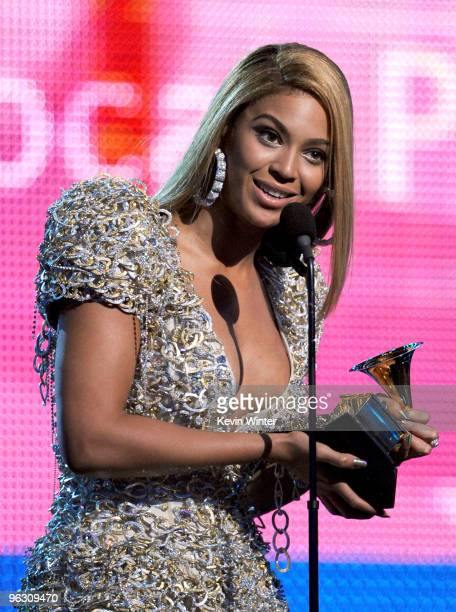 Singer Beyonce Knowles accepts the Best Female Pop Vocal Performance award onstage during the 52nd Annual GRAMMY Awards held at Staples Center on...