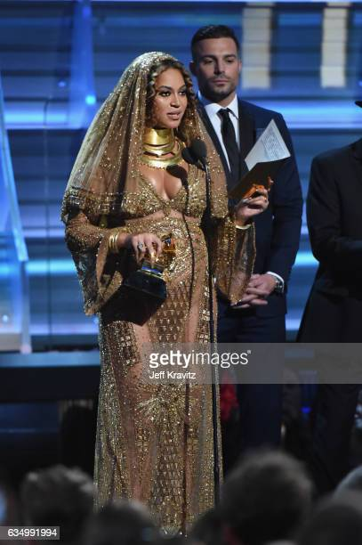 Singer Beyonce Knowles accepts the Best Urban Contemporary Album award for 'Lemonade' onstage during The 59th GRAMMY Awards at STAPLES Center on...