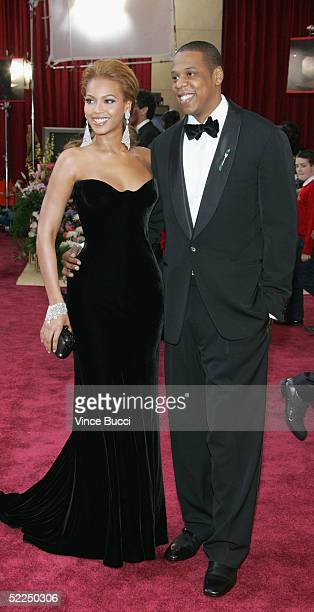 Singer Beyonce Knowles and Def Jam President JayZ arrive at the 77th Annual Academy Awards at the Kodak Theater on February 27 2005 in Hollywood...