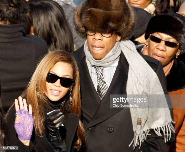 Singer Beyonce Knowles and husband Jay-Z arrive on the inaugural stage ahead of the inauguration of Barack Obama as the 44th President of the United...