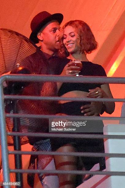 Singer Beyonce Knowles and rapper JayZ attend American Eagle Outfitters Celebrates The Budweiser Made in America Music Festival during day 2 at Los...