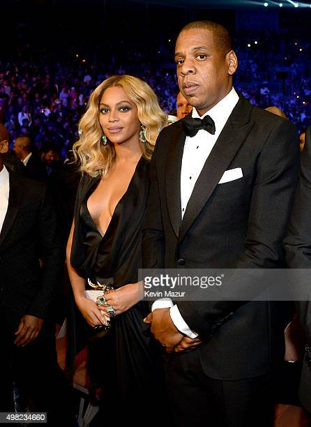 Singer Beyonce Knowles and Rapper JayZ attend Roc Nation Sports Golden Boy Promotions Miguel Cotto Promotions And Canelo Promotions Present Miguel...