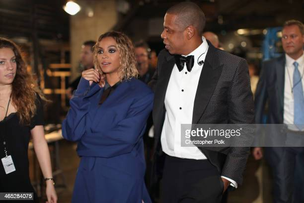 Singer Beyonce Knowles and rapper JayZ attend the 56th GRAMMY Awards at Staples Center on January 26 2014 in Los Angeles California