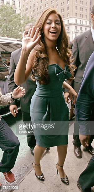Singer Beyonce Knowles arrives at Macy's Herald Square to launch Emporio Armani Diamonds perfume on August 16 2007 in New York City