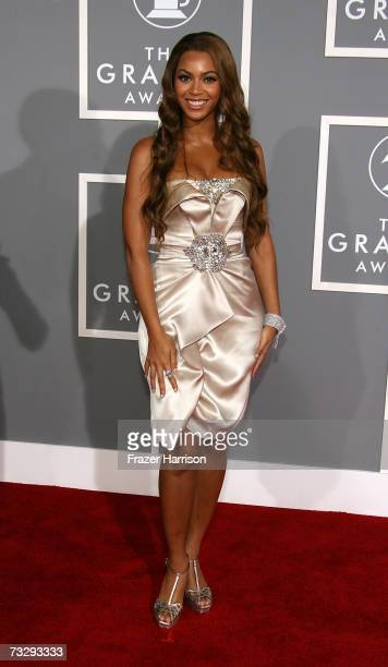 Singer Beyonce Knowles arrives at the 49th Annual Grammy Awards at the Staples Center on February 11 2007 in Los Angeles California