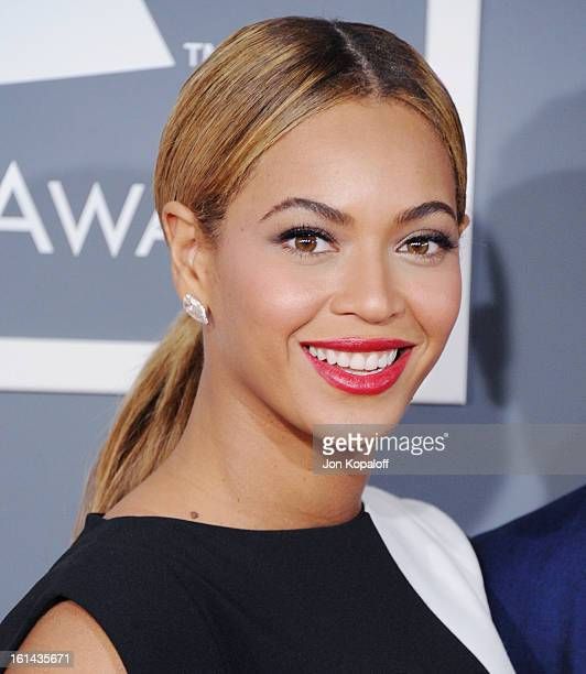 Singer Beyonce Knowles arrives at The 55th Annual GRAMMY Awards at Staples Center on February 10 2013 in Los Angeles California