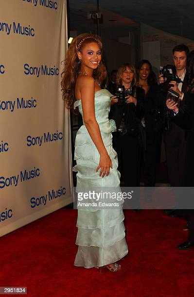 Singer Beyonce Knowles arrives at the Sony Music Entertainment PostGrammy Party at Maple Drive Restaurant on February 8 2004 in Beverly Hills...